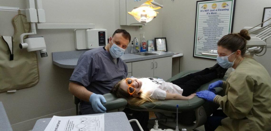 girl in dentist chair