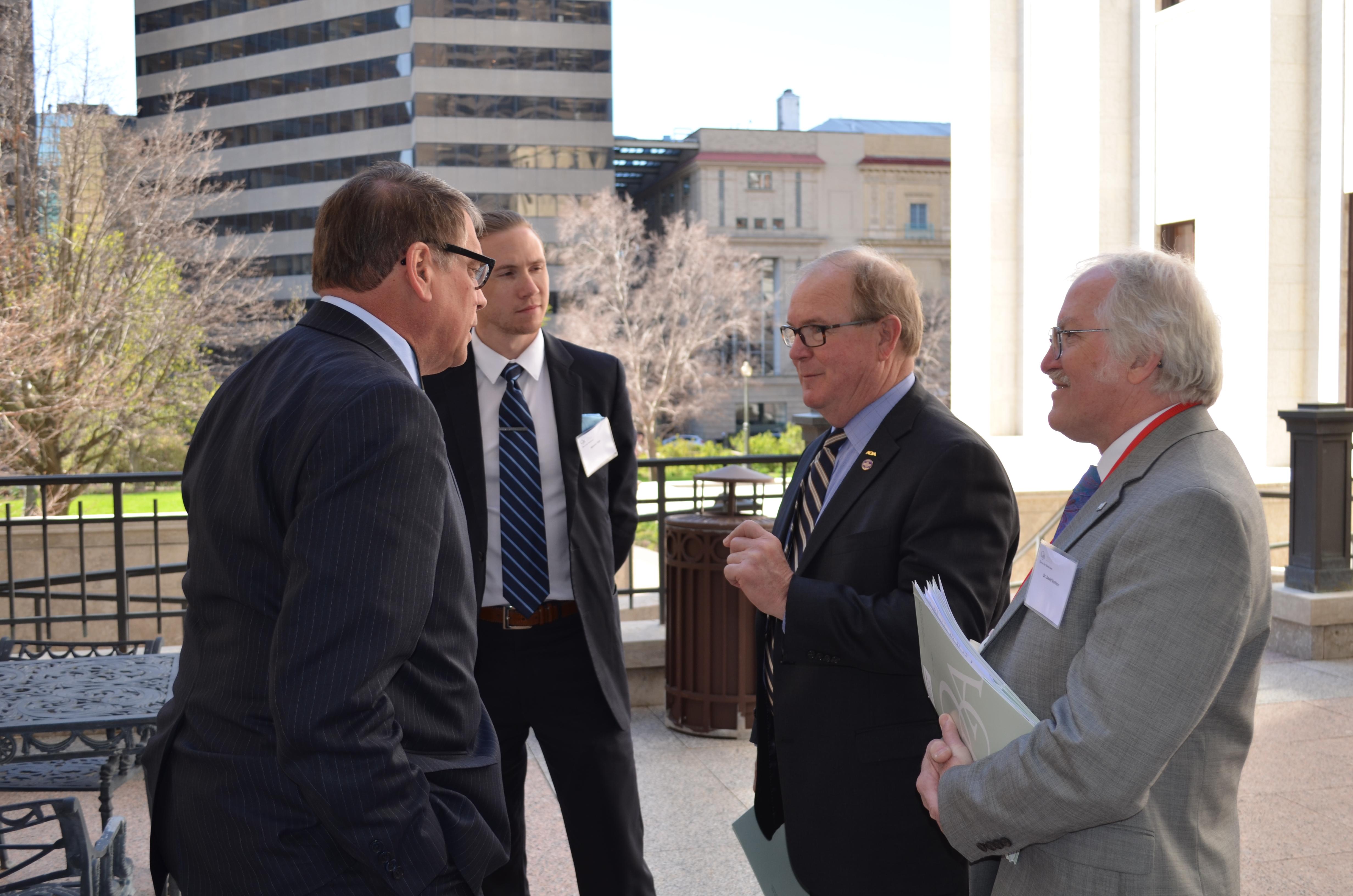 OSU dental student Spencer Tepe, Dr. Joe Crowley and Dr. David Vorherr